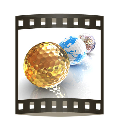 Global golf winner concept with golf balls. 3d illustration. The film strip.