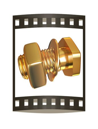 Gold Bolt with nut. 3d illustration. The film strip. Stock Photo
