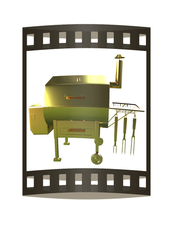 Gold BBQ Grill. 3d illustration. The film strip.