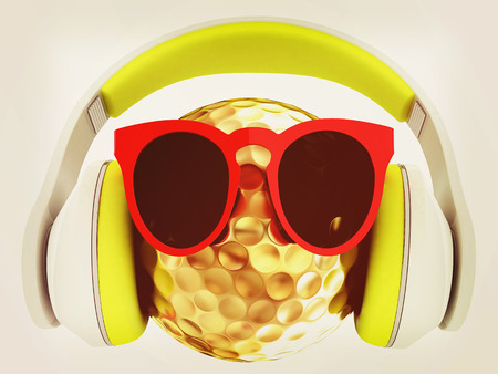 Gold Golf Ball With Sunglasses and headphones. 3d illustration.