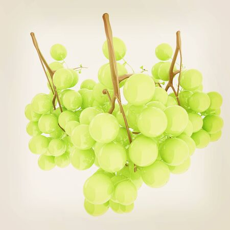 Healthy fruits Green wine grapes isolated white background. Bunch of grapes ready to eat. 3d illustration.