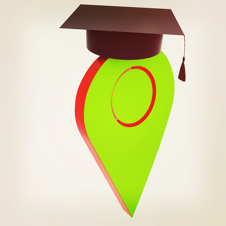 Geo pin with graduation hat on white. School sign, geolocation and navigation. 3d illustration.