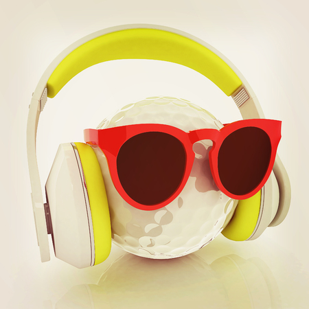 Golf Ball With Sunglasses and headphones. 3d illustration.