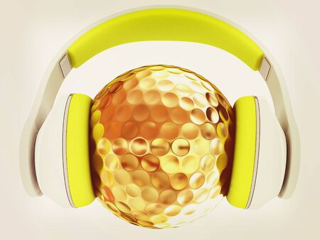 Gold Ball With headphones. 3d illustration. Stock Photo