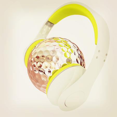 Metal Golf Ball With headphones. 3d illustration.