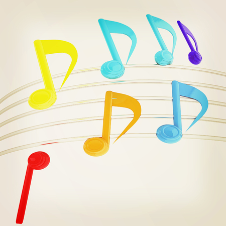 stave: music notes background. 3D illustration.