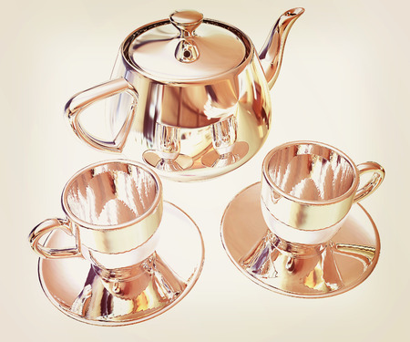 desk: Chrome Teapot and mugs. 3d illustration. Stock Photo