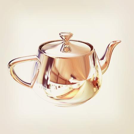 chrome: Chrome Teapot. 3d illustration. Stock Photo