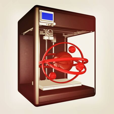 3d printer during work on the atom. Scientific high technology concept of the future. 3d illustration. Vintage style
