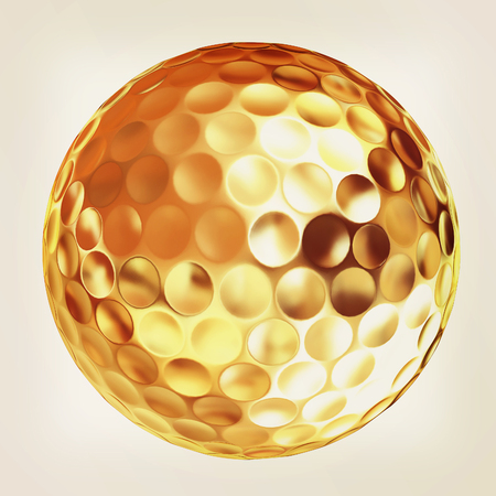 3d rendering of a golfball in gold. Vintage style