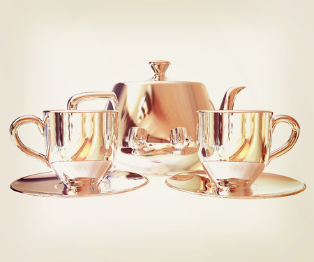 Chrome Teapot and mugs. 3d illustration. Vintage style Stock Photo