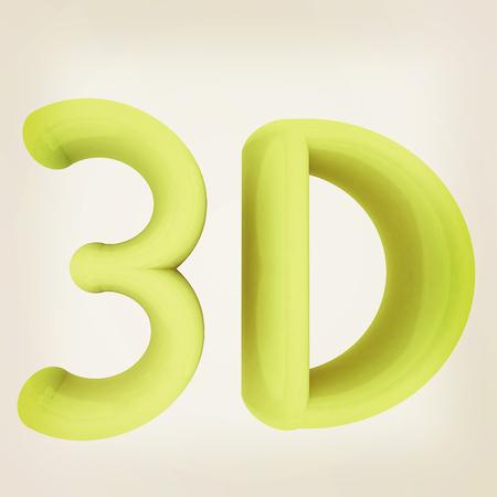 3D word. 3D illustration. Vintage style