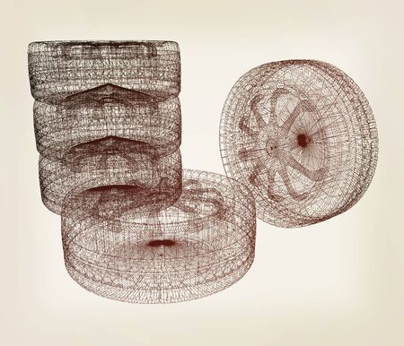 computer drawing of car wheel. Top view. 3d illustration. Vintage style Stock Photo