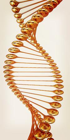 human evolution: DNA gold. 3d illustration. Vintage style Stock Photo
