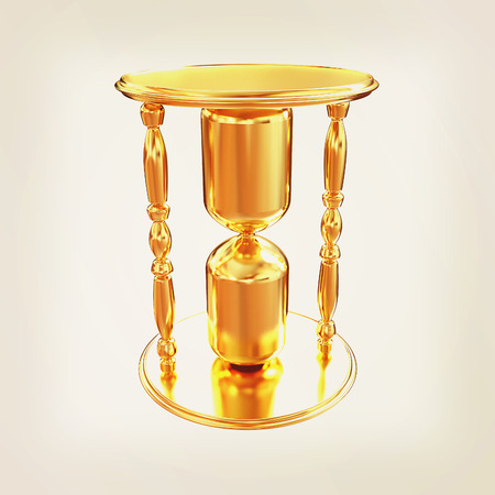 sand watch: Golden Hourglass. 3d illustration. Vintage style Stock Photo
