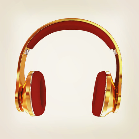 Golden headphones. 3d illustration. Vintage style
