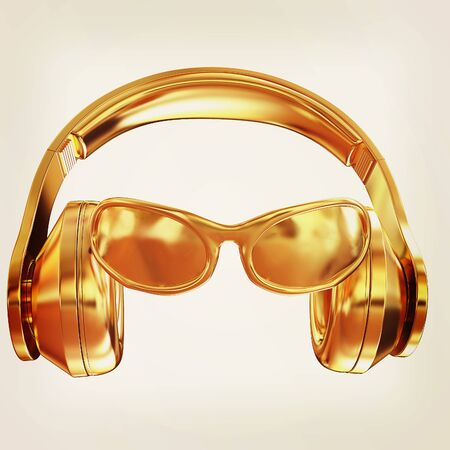 listen to music: glasses and headphones. 3d illustration. Vintage style Stock Photo