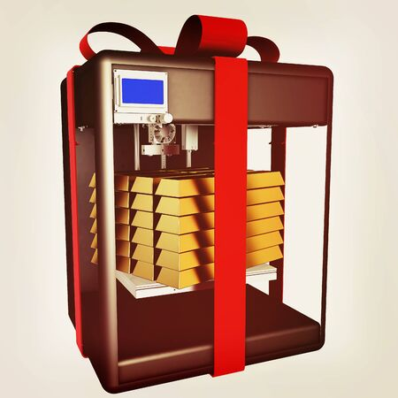 stability: Gold from the 3D printer. Fantastic technologies for big holidays. Creating products of the innovative materials. 3d illustration. Vintage style Stock Photo