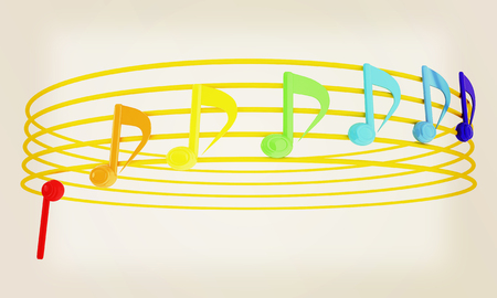 stave: Various music notes on stave. Colorfull 3d. 3D illustration. Vintage style Stock Photo