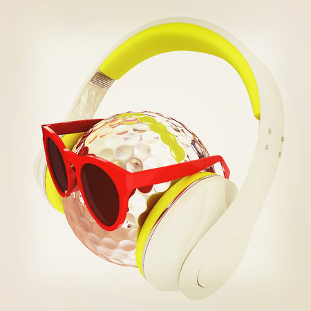 Metal Golf Ball With Sunglasses and headphones. 3d illustration. Vintage style