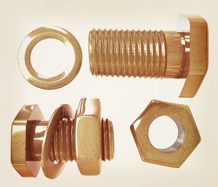 bolts and nuts: Screws and nuts set. 3d illustration. Vintage style Stock Photo