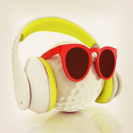 Golf Ball With Sunglasses and headphones. 3d illustration. Vintage style