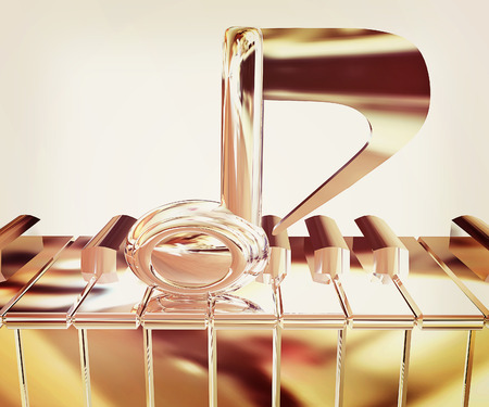 Chrome note on a piano. 3D illustration. Vintage style