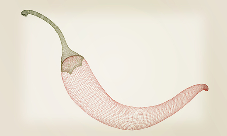 capsaicin: chili pepper. 3d illustration. Vintage style