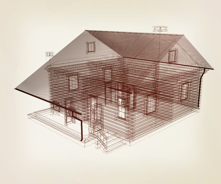 residential homes: line drawing of house. Top view. 3d illustration. Vintage style
