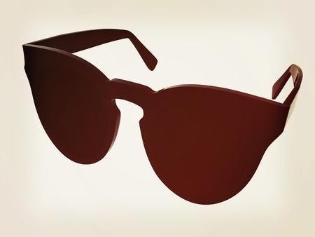 Cool black sunglasses. 3d illustration. Vintage style