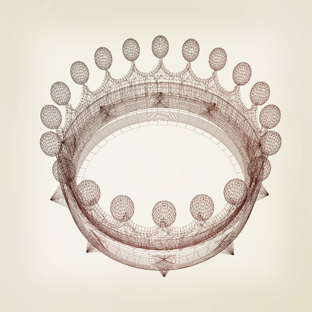 Crown. 3D illustration. Vintage style