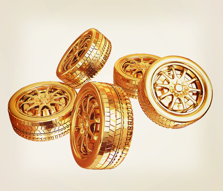 Golden wheels Set isolated on white. Top view. 3d illustration. Vintage style Stock Photo