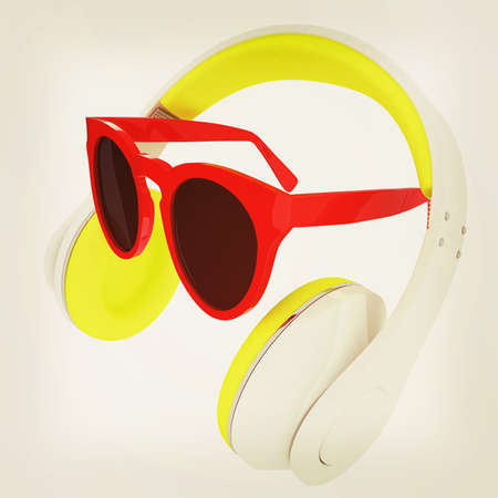music 3d: Sunglasses and headphone for your face. 3d illustration. Vintage style