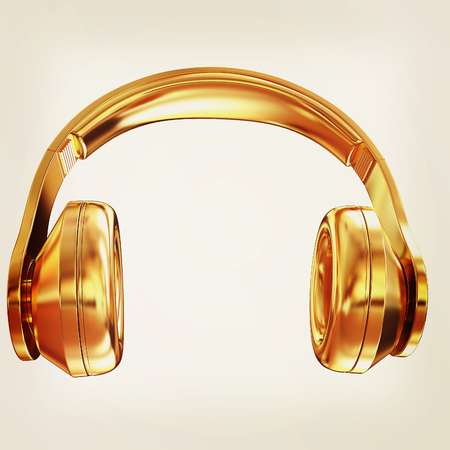 Gold headphones icon on a white background. 3D illustration. Vintage style