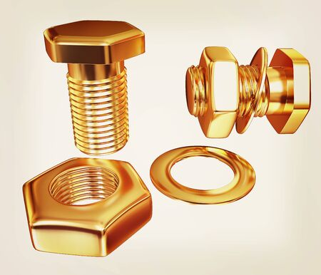 Gold Bolt with nut. 3d illustration. Vintage style