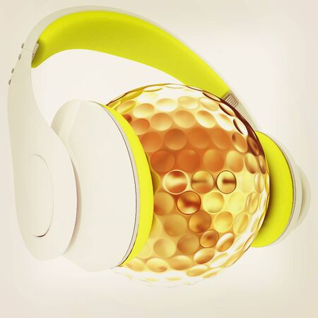 Gold Ball With headphones. 3d illustration. Vintage style Stock Photo