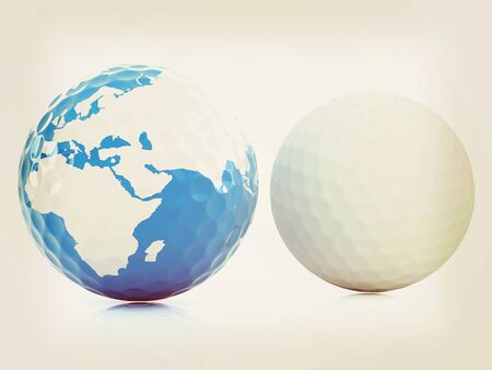 Conceptual 3d illustration. Golf ball world globe. Vintage style