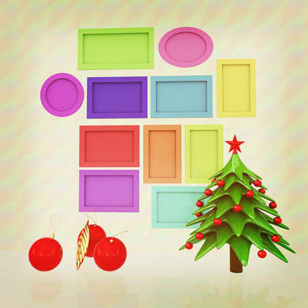 Set of Christmas and New Year frames and Christmas tree. 3D render. Vintage style Stock Photo