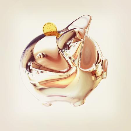 Piggy in Chrome Symbol for Financial Concepts. 3d illustration. Vintage style
