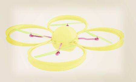 Quadcopter Drone. 3d render. Vintage style