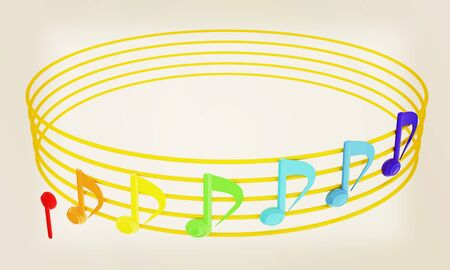 Various music notes on stave. Colorful 3d. 3D illustration. Vintage style