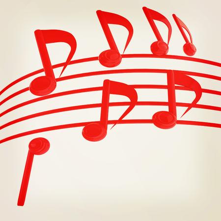 music notes  background. 3D illustration. Vintage style