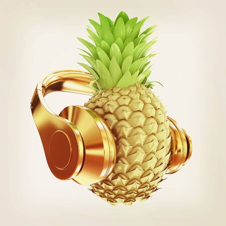 music 3d: Fashion gold pineapple with headphones listens to music. 3d illustration. Vintage style