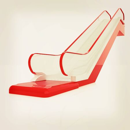 Single escalator. 3d illustration. Vintage style Stock Photo