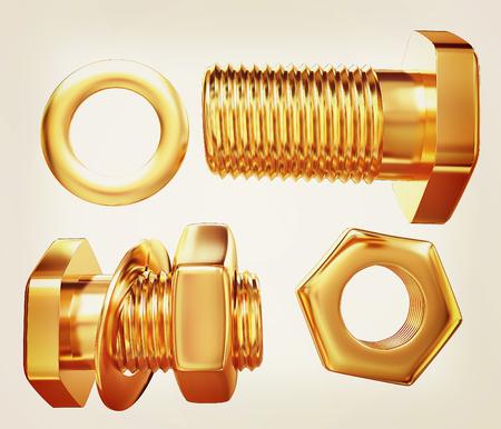 Gold Bolt with nut. 3d illustration.