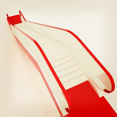 Single escalator. 3d illustration.