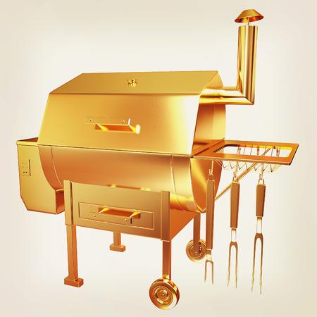 Gold BBQ Grill. 3d illustration.