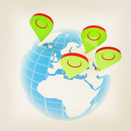 geolocation: Planet Earth and map pins icon. Earth globe and colorful map labels. Modern graphic elements for web banners, websites, printed materials, infographics. 3d illustration. Stock Photo