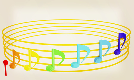 Various music notes on stave. Colorful 3d. 3D illustration.