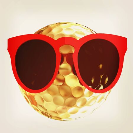 Golf Ball With Sunglasses. 3d illustration. Stock Photo